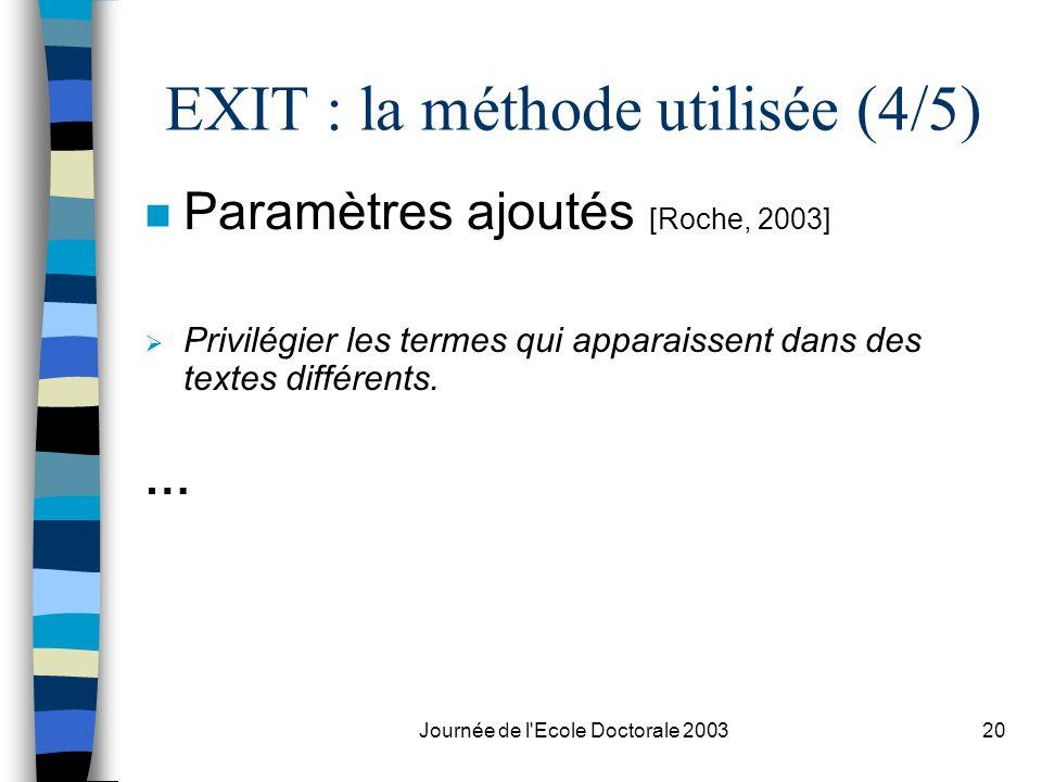 EXIT : la méthode utilisée (4/5)