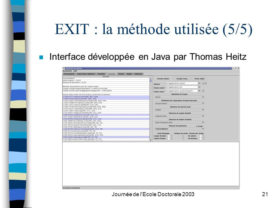 EXIT : la méthode utilisée (5/5)