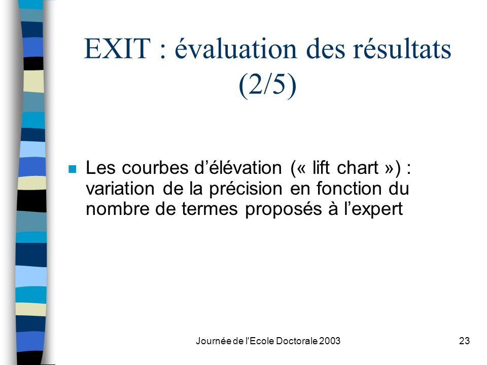 EXIT : évaluation des résultats (2/5)