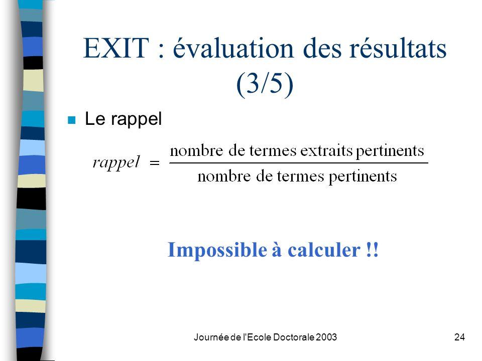EXIT : évaluation des résultats (3/5)