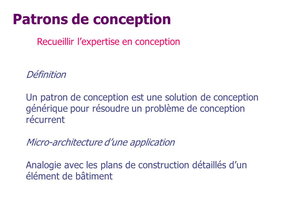 Patrons de conception Recueillir l'expertise en conception Définition