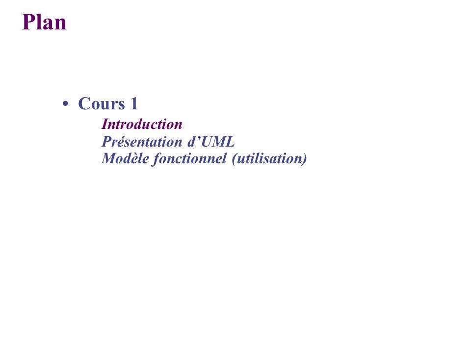 Plan • Cours 1 Introduction Présentation d'UML