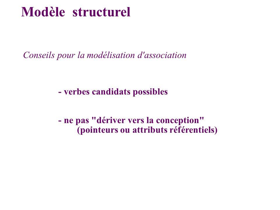 Modèle structurel Conseils pour la modélisation d association
