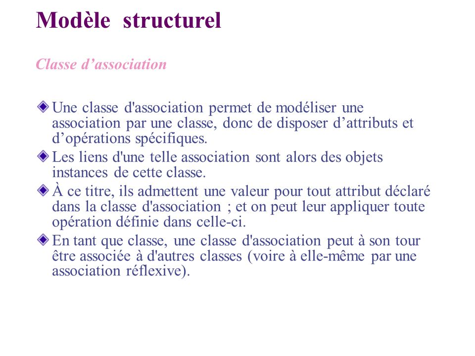 Modèle structurel Classe d'association