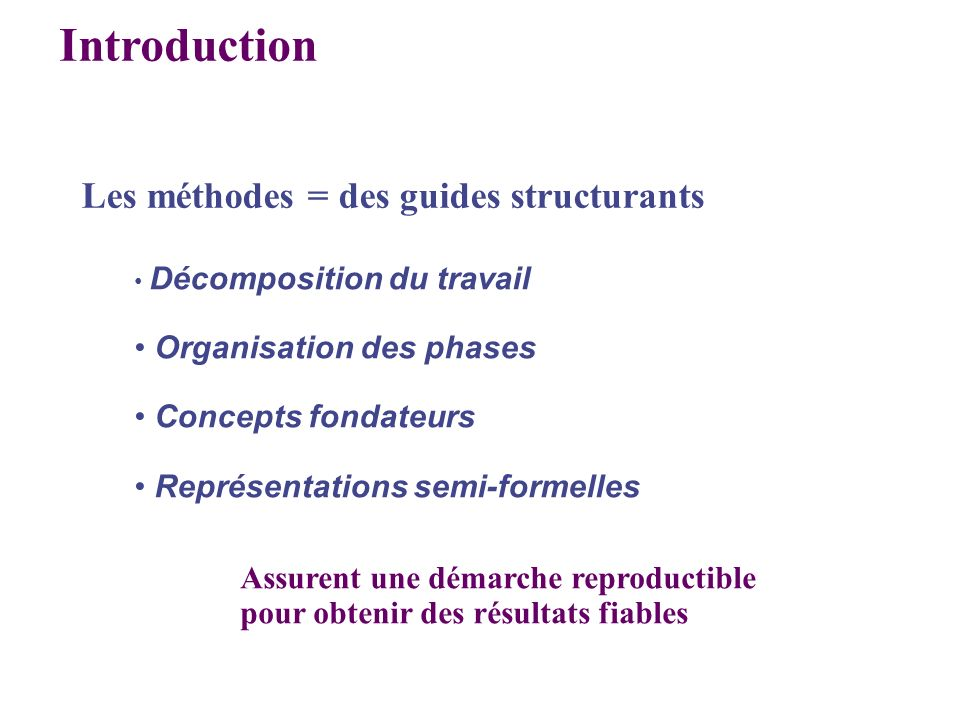 Introduction Les méthodes = des guides structurants