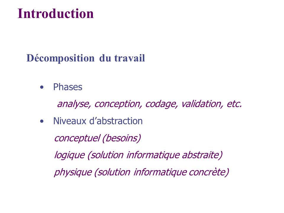 Introduction Décomposition du travail Phases
