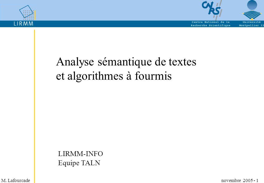 Analyse sémantique de textes et algorithmes à fourmis