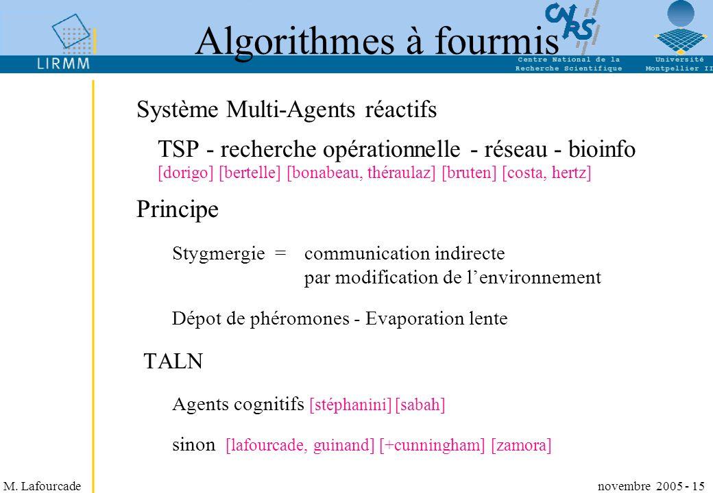 Algorithmes à fourmis Principe Système Multi-Agents réactifs