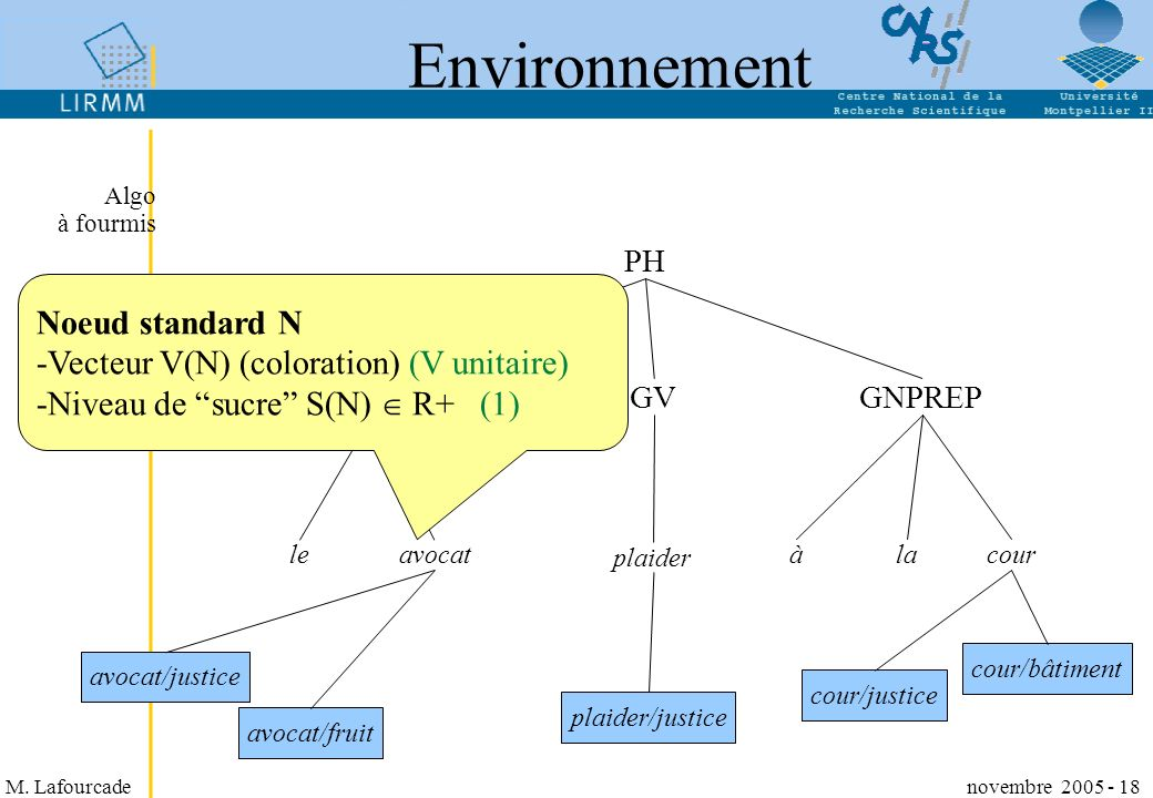 Environnement Noeud standard N Vecteur V(N) (coloration) (V unitaire)