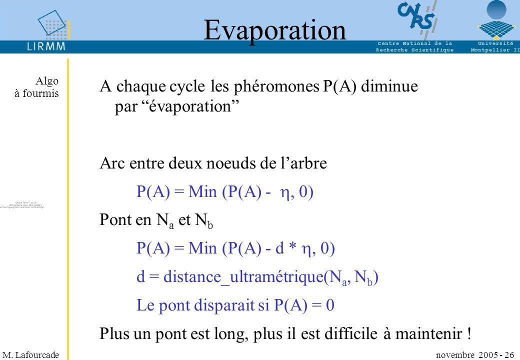 Evaporation Algo à fourmis. A chaque cycle les phéromones P(A) diminue par évaporation Arc entre deux noeuds de l'arbre.