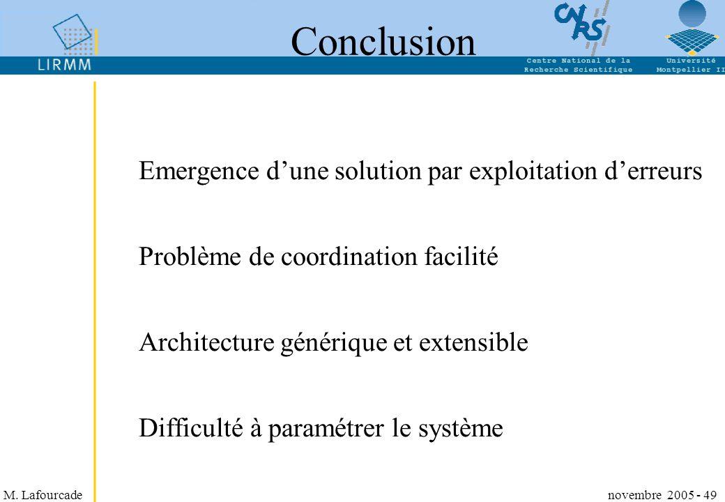 Conclusion Emergence d'une solution par exploitation d'erreurs