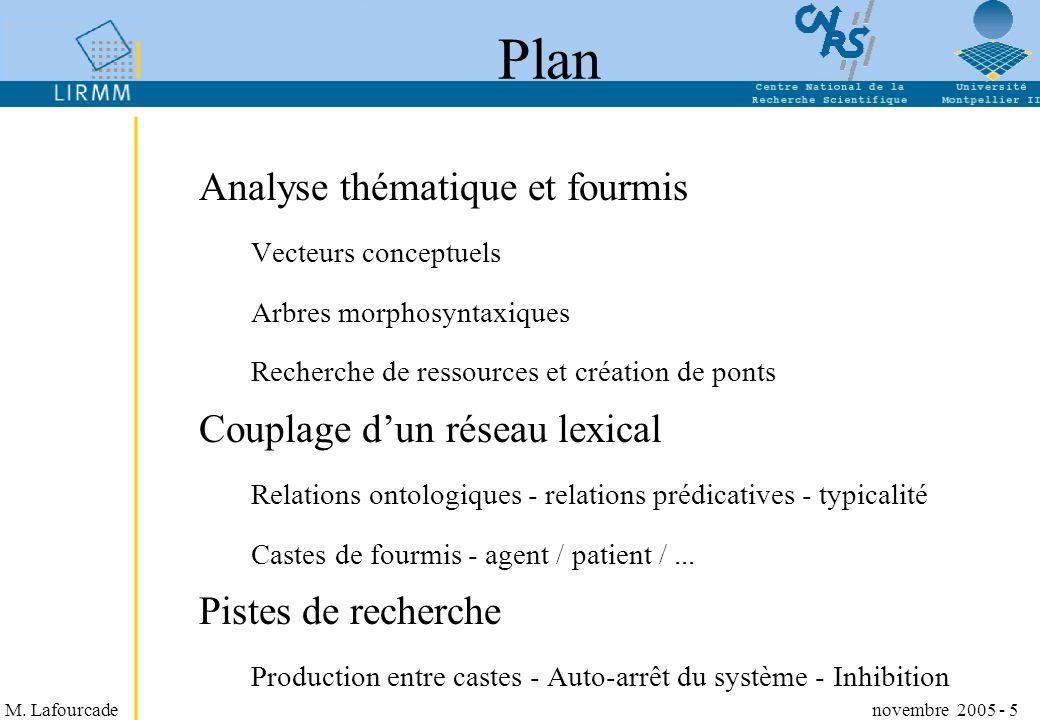 Plan Analyse thématique et fourmis Couplage d'un réseau lexical