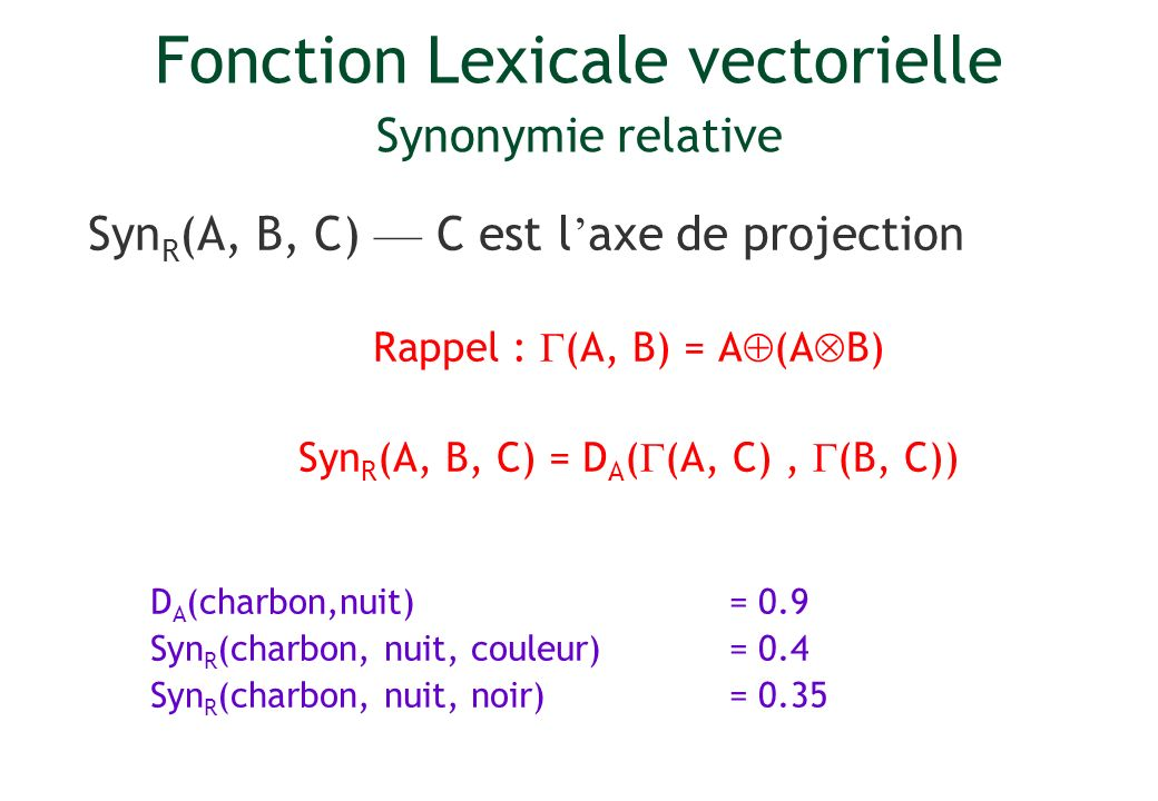 Fonction Lexicale vectorielle Synonymie relative