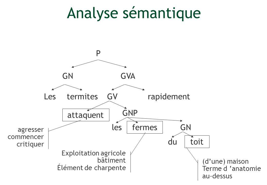 Analyse sémantique P GN GVA Les termites GV rapidement GNP attaquent