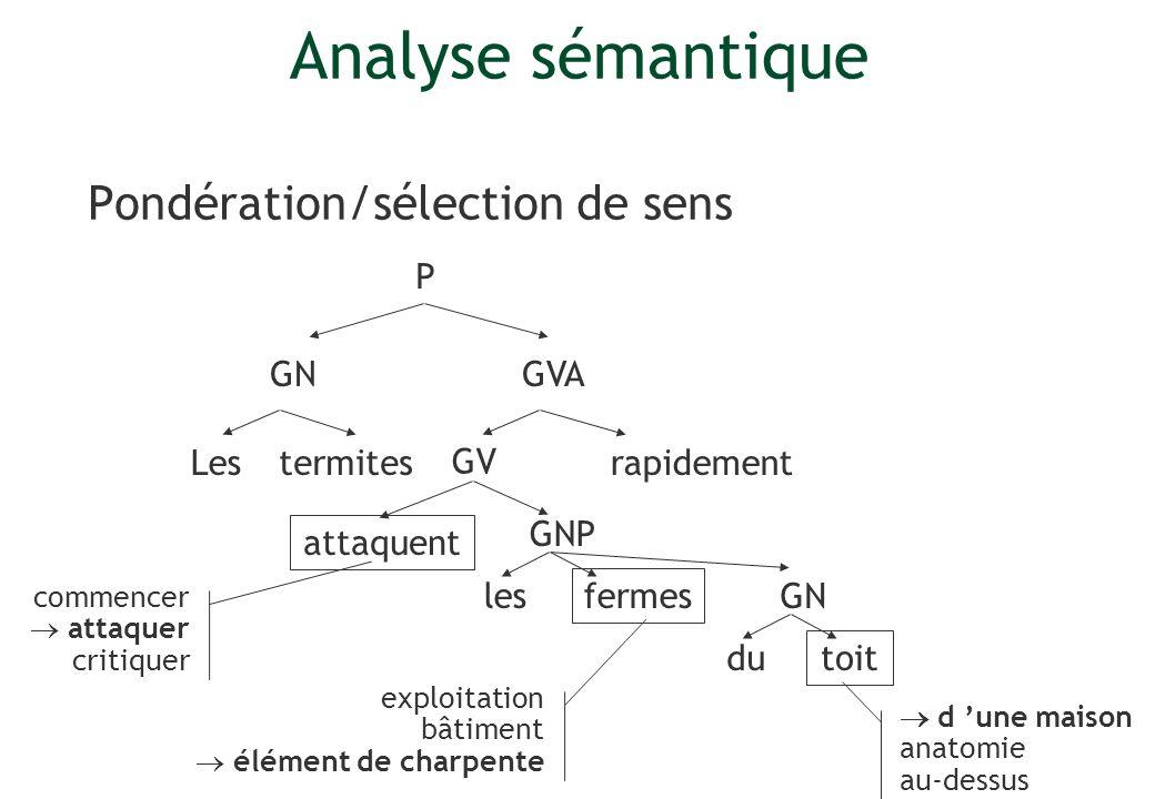 Analyse sémantique Pondération/sélection de sens P GN GVA Les termites