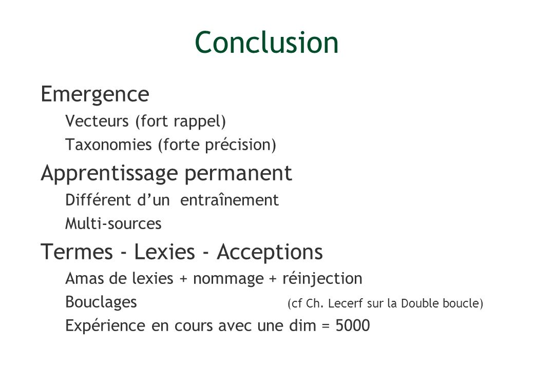 Conclusion Emergence Apprentissage permanent