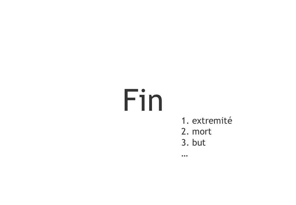 Fin 1. extremité 2. mort 3. but … 110