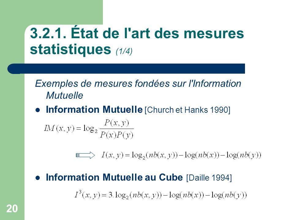 3.2.1. État de l art des mesures statistiques (1/4)