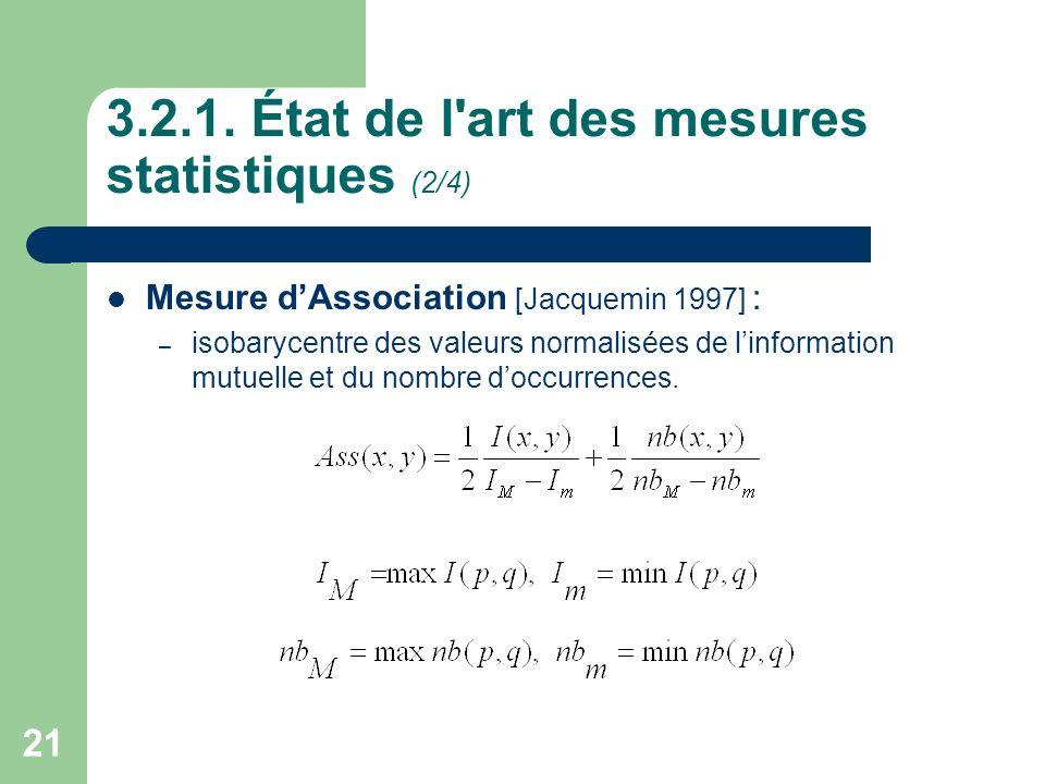 3.2.1. État de l art des mesures statistiques (2/4)