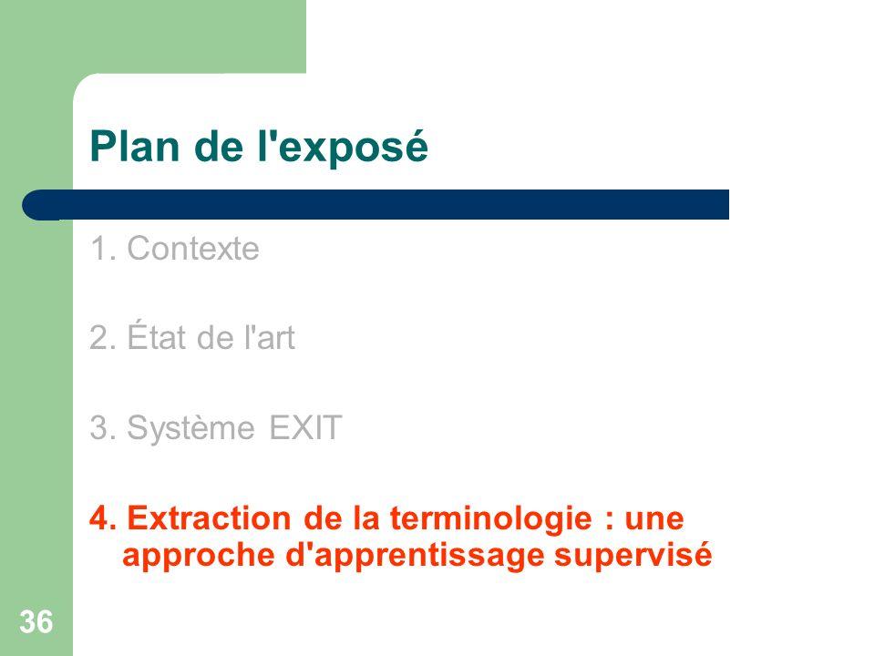 Plan de l exposé 1. Contexte 2. État de l art 3. Système EXIT