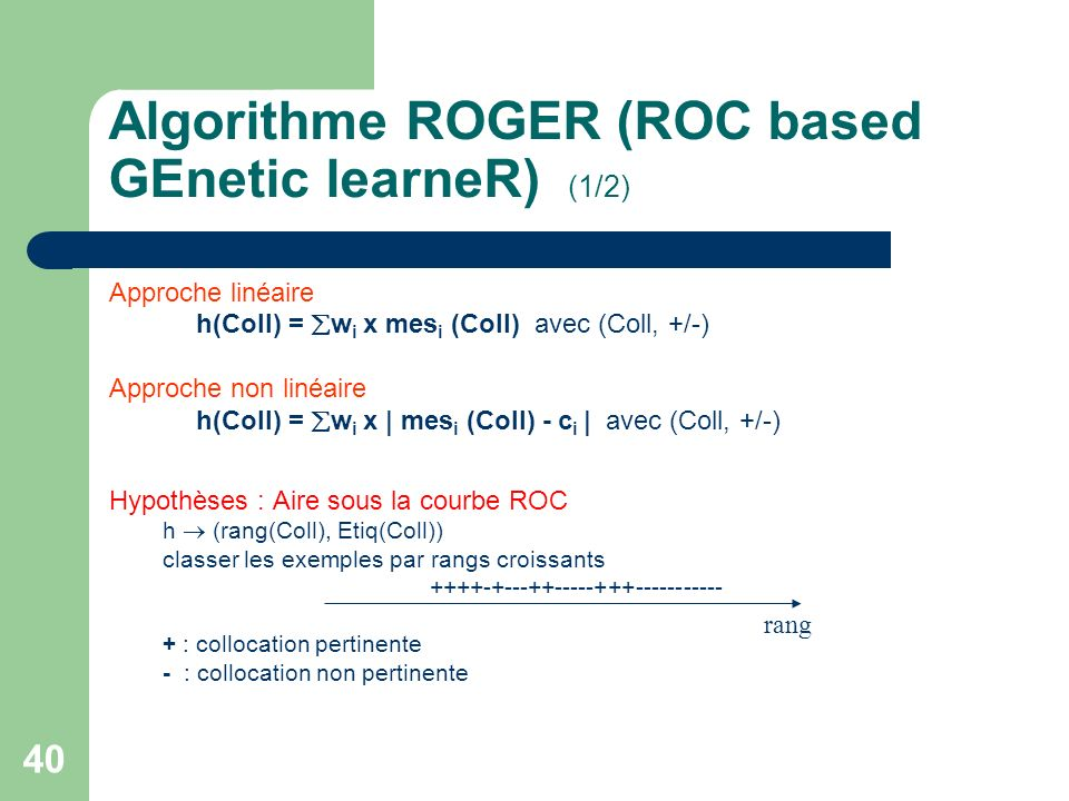 Algorithme ROGER (ROC based GEnetic learneR) (1/2)