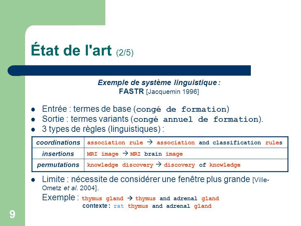 Exemple de système linguistique :