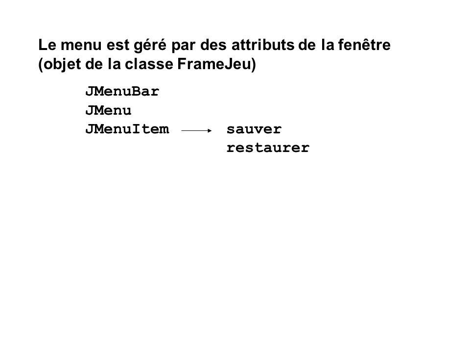 Le menu est géré par des attributs de la fenêtre (objet de la classe FrameJeu)