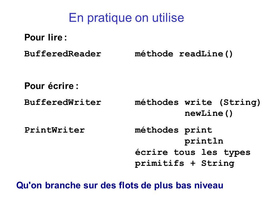 En pratique on utilise Pour lire : BufferedReader méthode readLine()