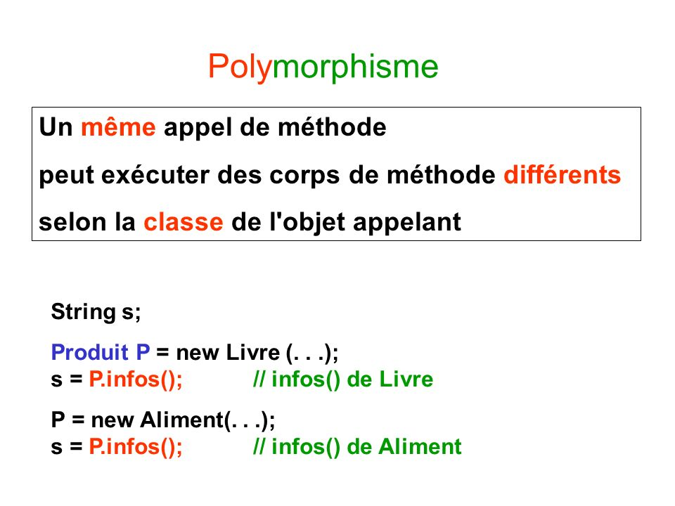 Polymorphisme Un même appel de méthode