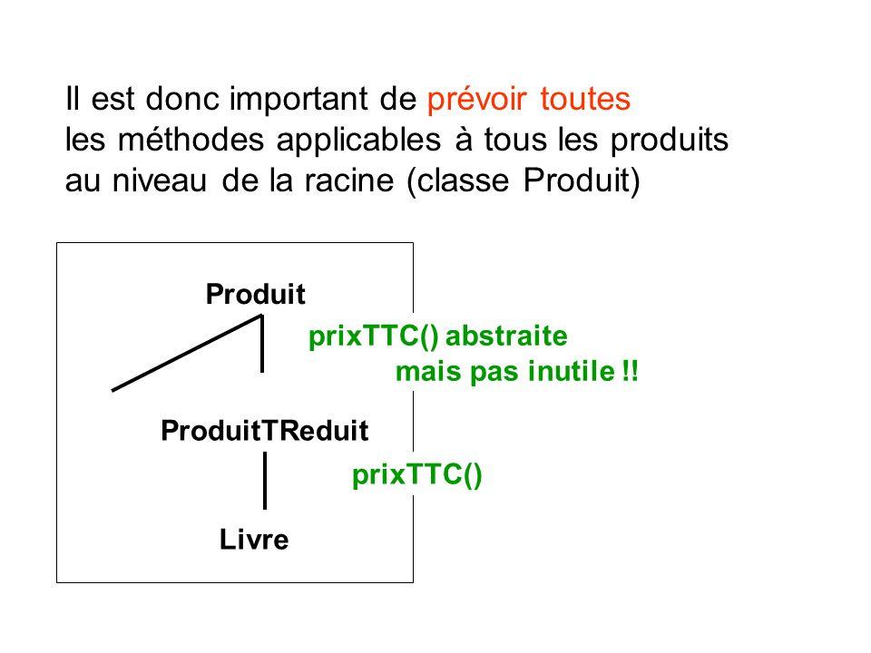 Il est donc important de prévoir toutes les méthodes applicables à tous les produits au niveau de la racine (classe Produit)