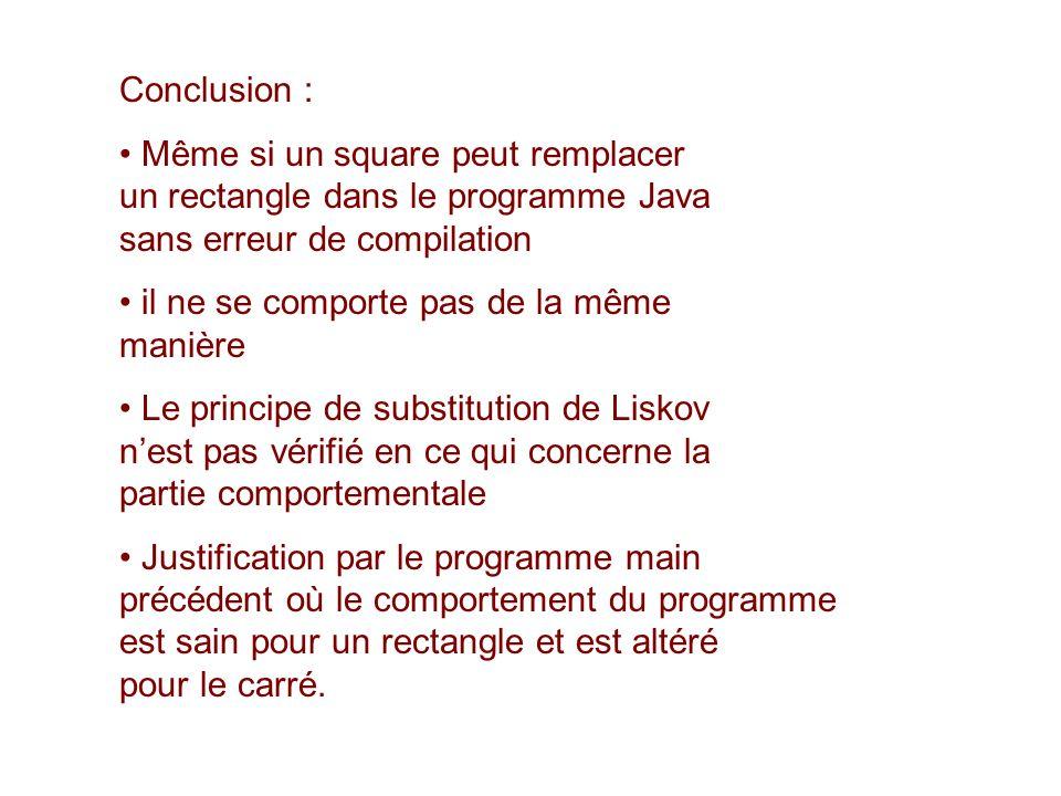 Conclusion : Même si un square peut remplacer un rectangle dans le programme Java sans erreur de compilation.
