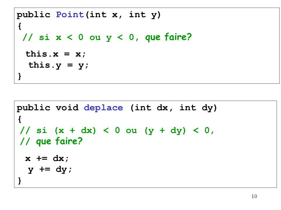 public Point(int x, int y) { // si x < 0 ou y < 0, que faire
