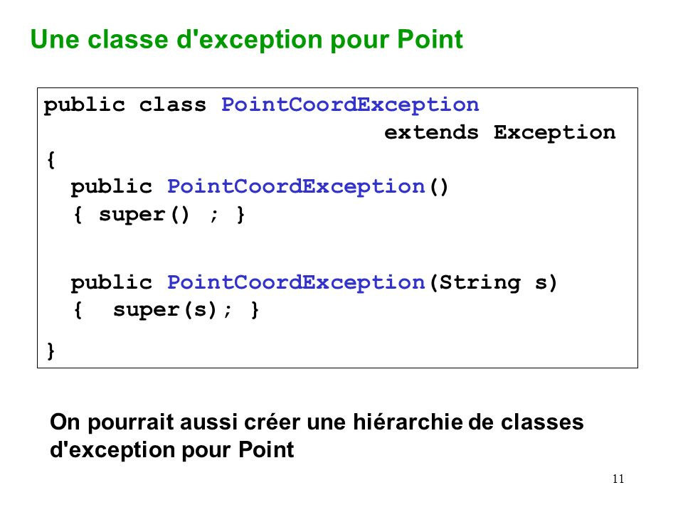 Une classe d exception pour Point