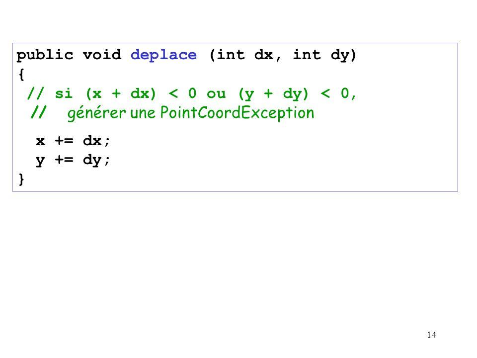 public void deplace (int dx, int dy) { // si (x + dx) < 0 ou (y + dy) < 0, // générer une PointCoordException
