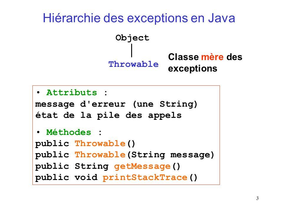 Hiérarchie des exceptions en Java
