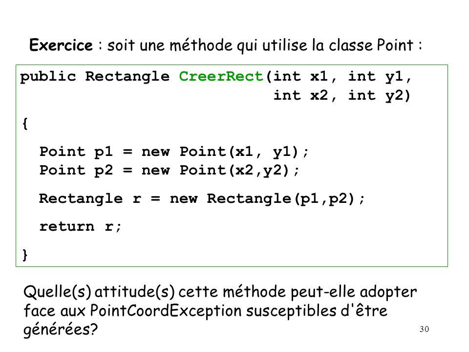 Exercice : soit une méthode qui utilise la classe Point :