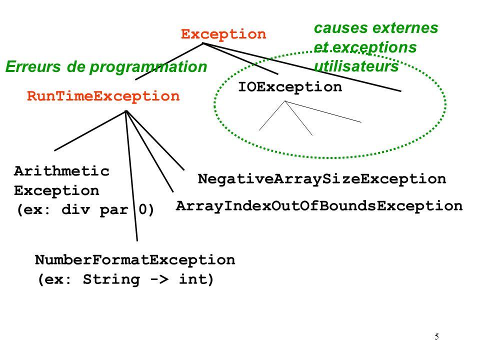 causes externes et exceptions utilisateurs