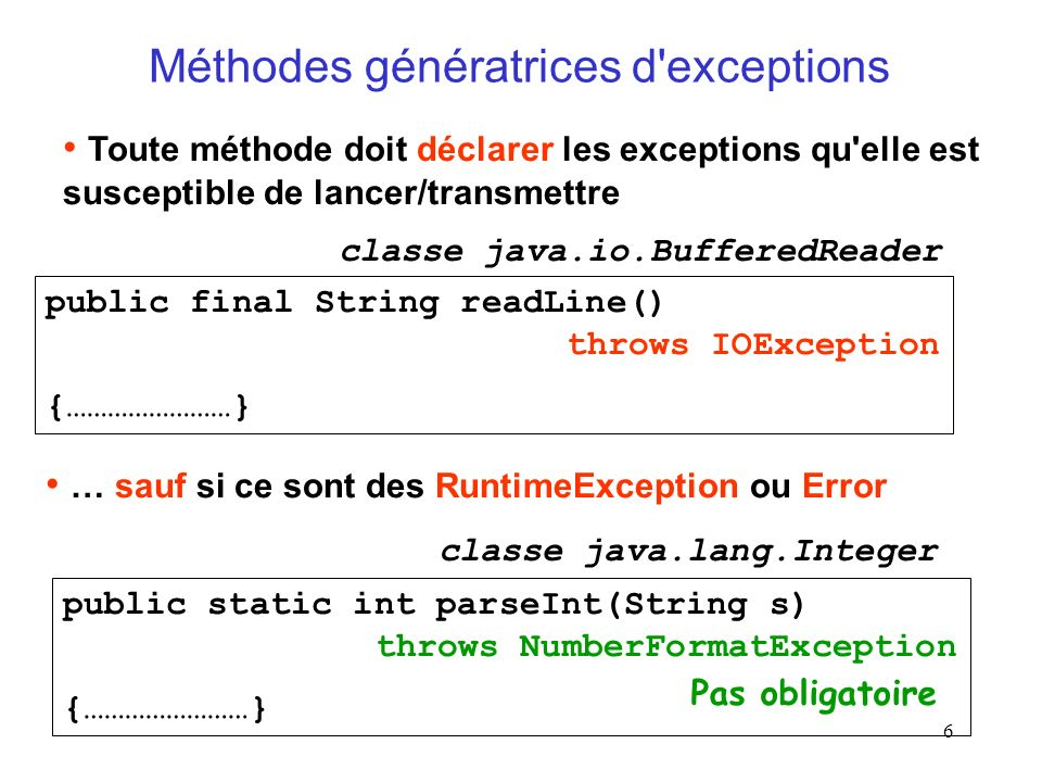 Méthodes génératrices d exceptions