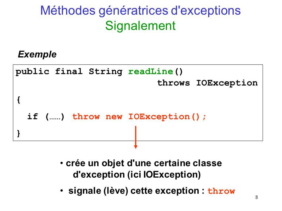 Méthodes génératrices d exceptions Signalement