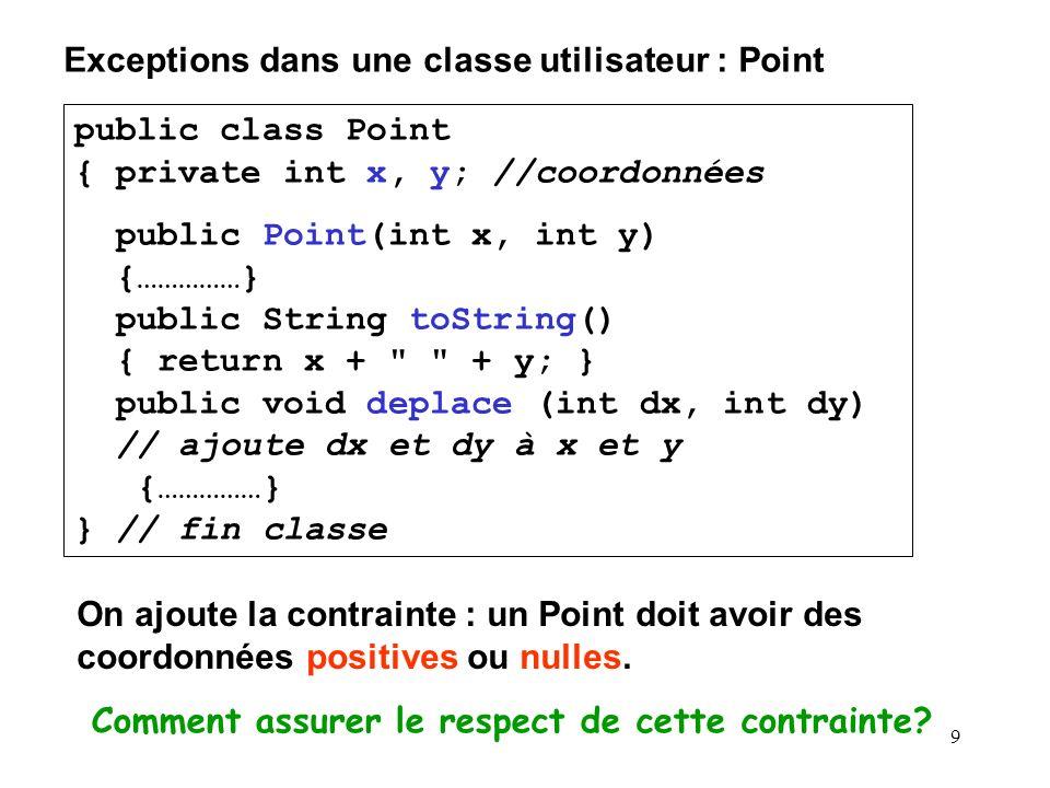 Exceptions dans une classe utilisateur : Point