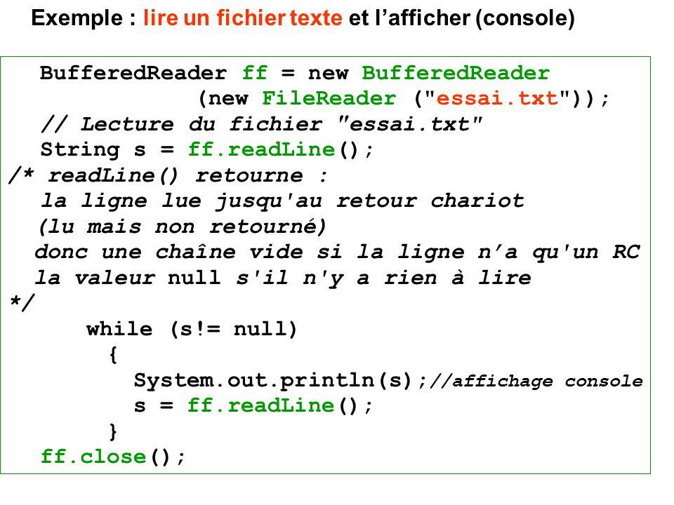 Exemple : lire un fichier texte et l'afficher (console)