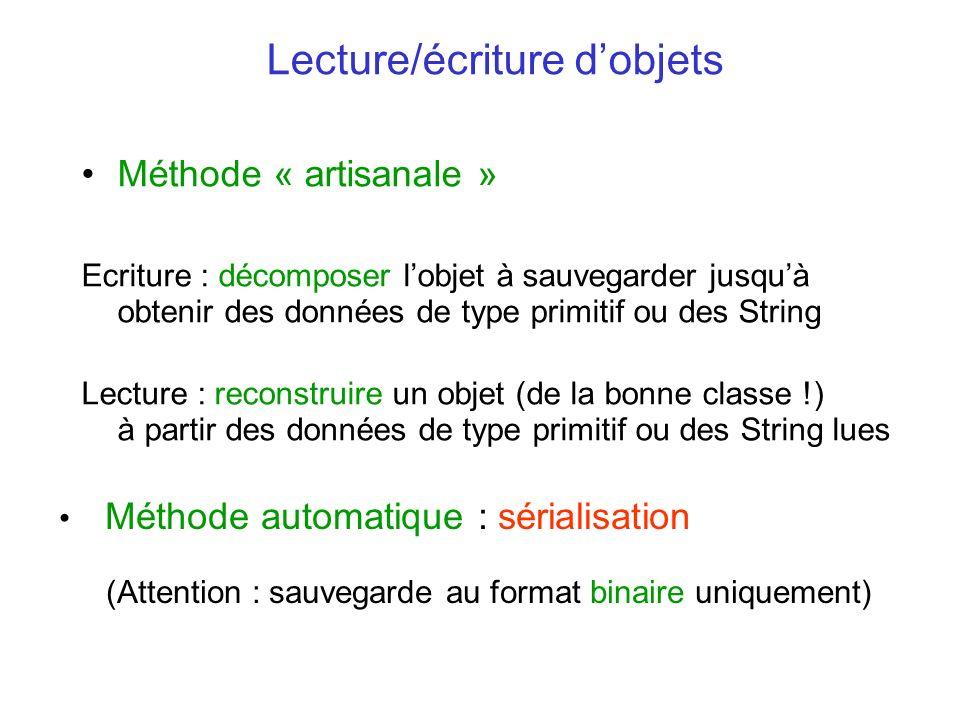 Lecture/écriture d'objets