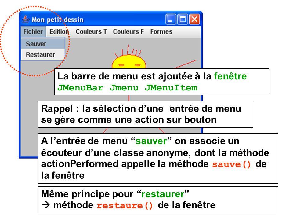 La barre de menu est ajoutée à la fenêtre JMenuBar Jmenu JMenuItem