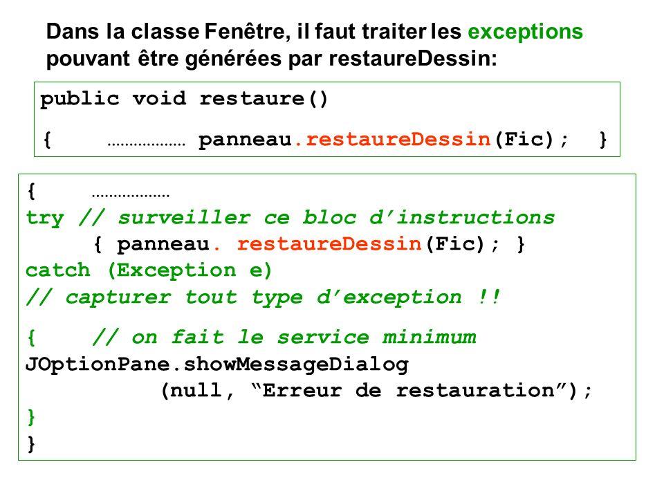 Dans la classe Fenêtre, il faut traiter les exceptions pouvant être générées par restaureDessin: