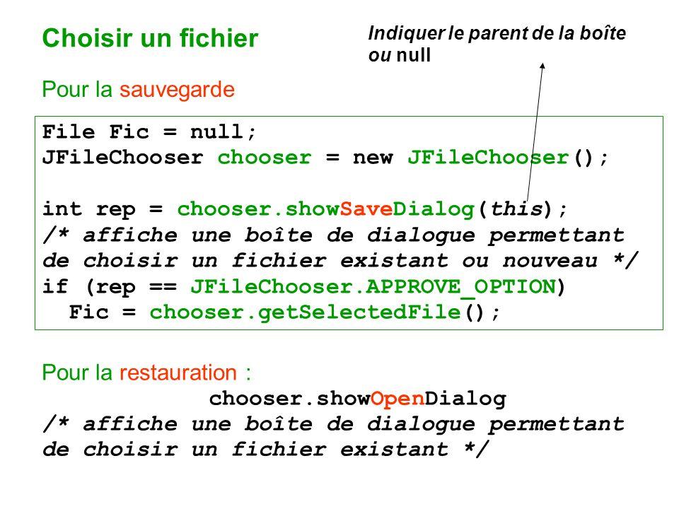Choisir un fichier Pour la sauvegarde File Fic = null;