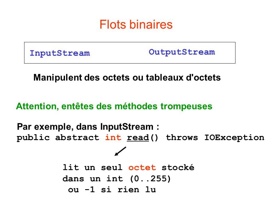 Flots binaires OutputStream InputStream