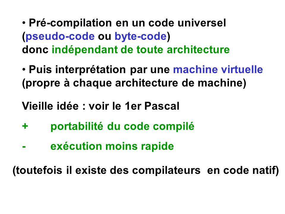Pré-compilation en un code universel (pseudo-code ou byte-code) donc indépendant de toute architecture