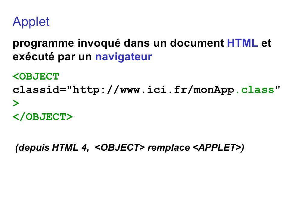 Applet programme invoqué dans un document HTML et exécuté par un navigateur. <OBJECT classid= http://www.ici.fr/monApp.class >