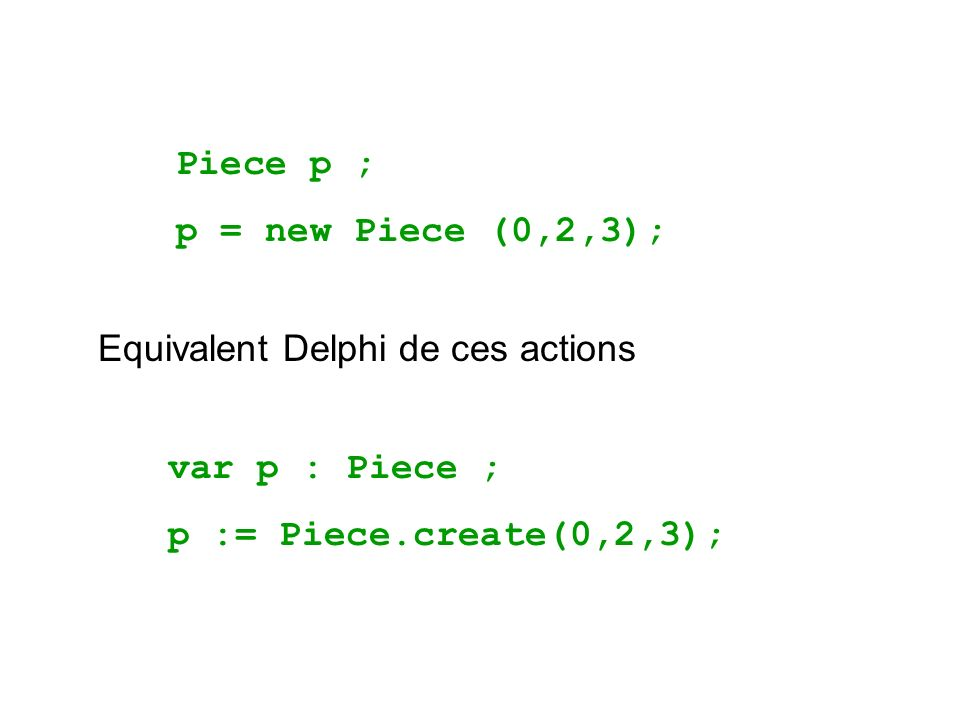 Piece p ; p = new Piece (0,2,3); Equivalent Delphi de ces actions.