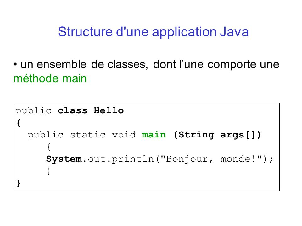 Structure d une application Java